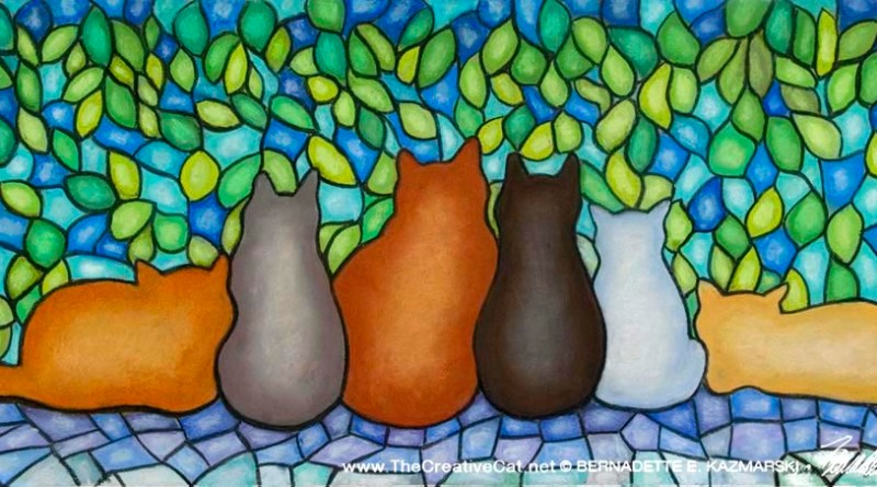 """Stained Glass Feline Family"", pastel, 12"" x 28"", Bernadette E. Kazmarski"