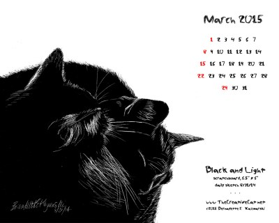 """Black and Light"" desktop calendar, 1280 x 1024 for square and laptop monitors"