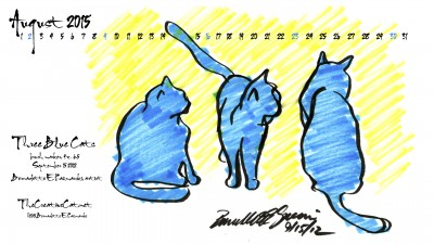"""Three Blue Cats"" desktop calendar 2560 x 1440 for HD and wide screens."