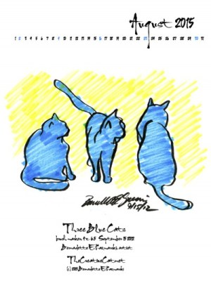 """Three Blue Cats"" desktop calendar, for 600 x 800 for iPad, Kindle and other readers."