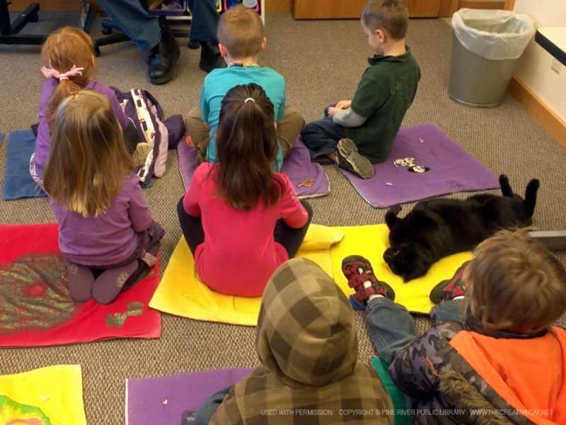 Browser keeps an eye on the young patrons during storytime.