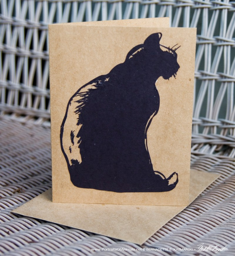 "Cut paper on kraft ""Mimi en Silhouette"" card, 5 x 7"
