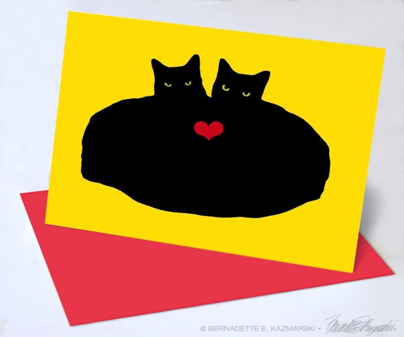 valentine card with two black cats heart cats
