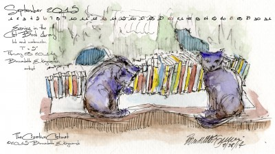 """Evening in the Cat Book Library"" desktop calendar 2560 x 1440 for HD and wide screens."