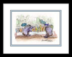"""Evening in the Cat Book Library"" framed."