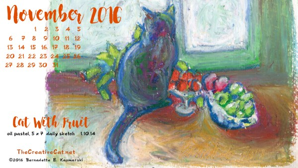 """Cat With Fruit"" desktop calendar 2560 x 1440 for HD and wide screens."