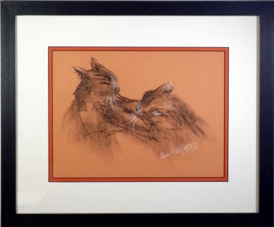 framed sketch of cats