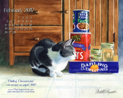 """Darling Clementine"" desktop calendar, 1280 x 1024 for square and laptop monitors."