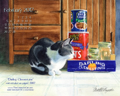 """""""Darling Clementine"""" desktop calendar, 1280 x 1024 for square and laptop monitors."""