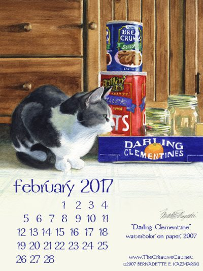 """Darling Clementine"" desktop calendar, 600 x 800 for iPad, Kindle and other readers."