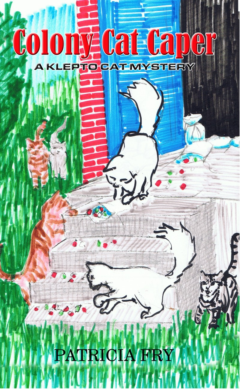 marker sketch of cats on steps for illustration