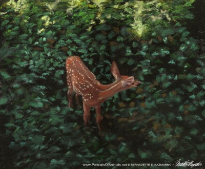 painting of fawn in greenery