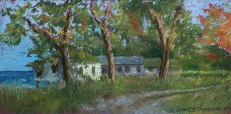 """""""Deserted Cottages"""", 17″ x 8.5″, pastels on Hahnemuhle sanded watercolor paper, 1998 © Bernadette E. Kazmarski"""