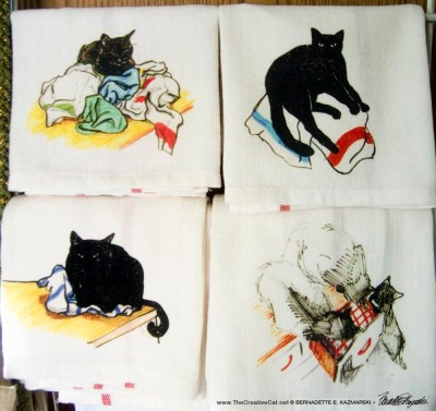 set of cat dishtowels