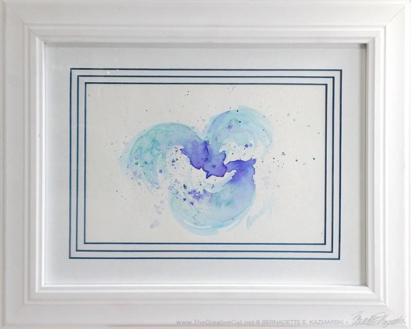 """Dreams of Three"", watercolor, 9"" x 6"" © Bernadette E. Kazmarski, framed."