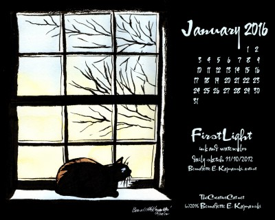 """First Light"" desktop calendar, 1280 x 1024 for square and laptop monitors."