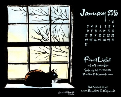 """""""First Light"""" desktop calendar, 1280 x 1024 for square and laptop monitors."""