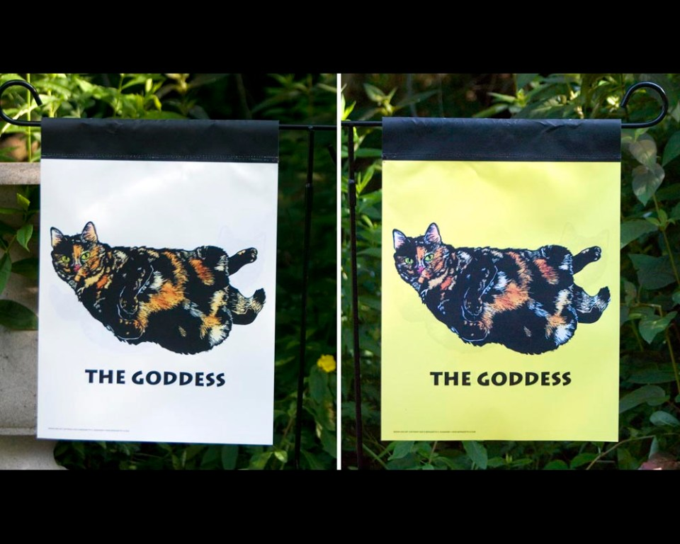 Tortie Girls garden flags, The Goddess.