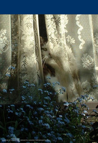 """Sophie Keeps an Eye on Things"" garden flag."