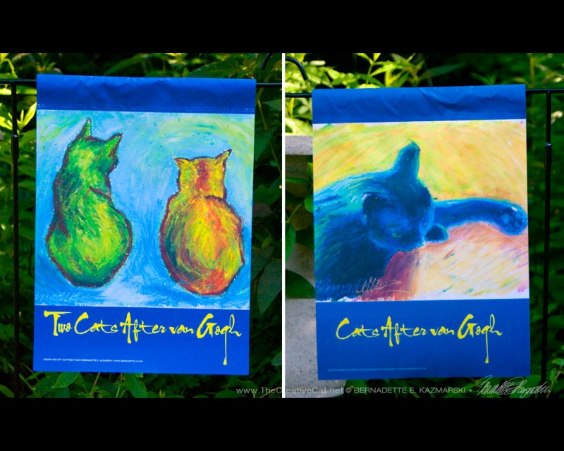"""Cats After Van Gogh"" garden flag."