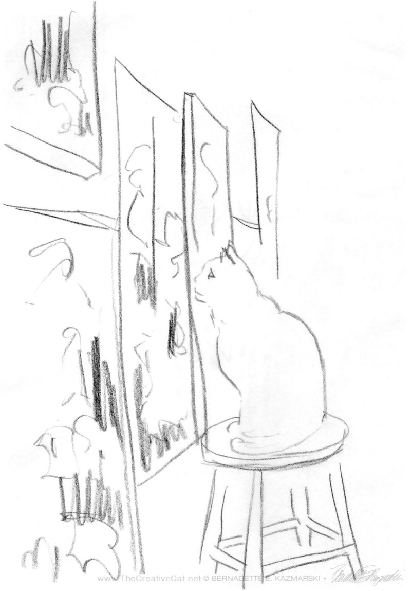 pencil sketch cat on stool looking at art