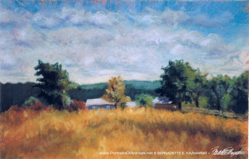 "Hilltop Farm, 10"" x 12"" pastel, 1996 © Bernadette E. Kazmarski"