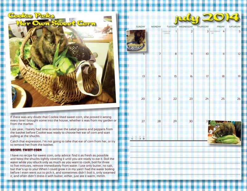 """The two-page spread for July """"In the Kitchen With Cookie"""""""