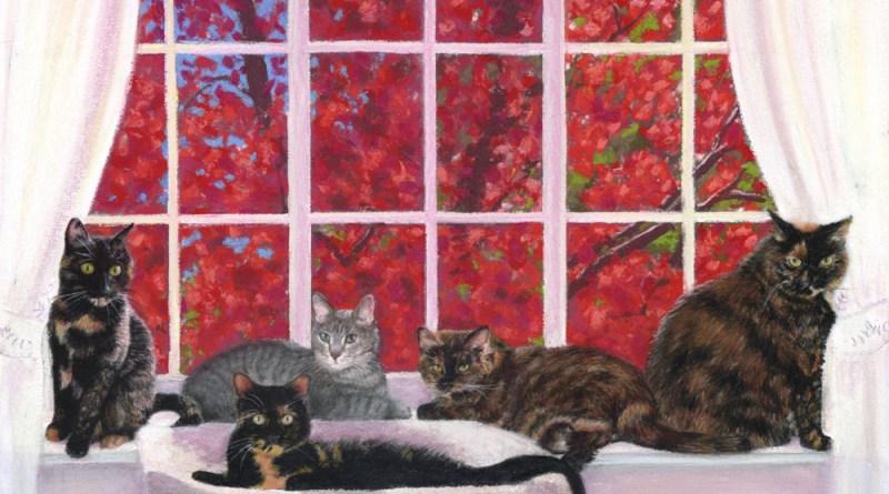 FeeBee, Amber, Buckley, Allegra and Ruby, and the Red Maple, pastel, 12 x 18 © Bernadette E. Kazmarski