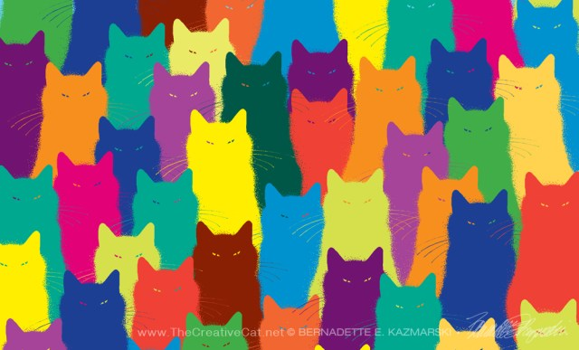 """Inscrutable Pattern, half sheet"", colorized line art, 8.5"" x 5.5"" © Bernadette E. Kazmarski"
