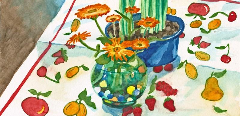 watercolor of flowers