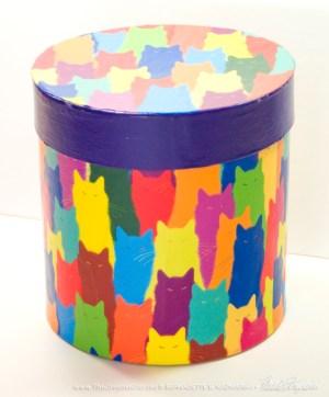 keepsake box with cat pattern