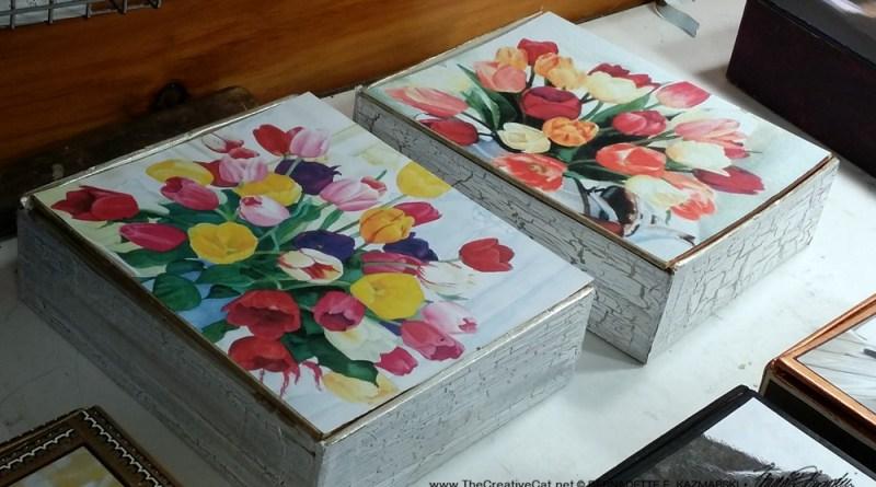 Two matching tulip keepsakes made from Marsh & Wheeling cigar boxes.