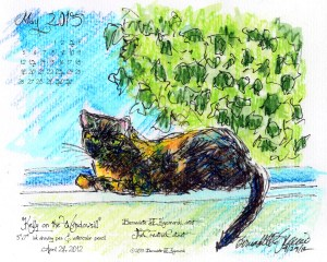 """Kelly on the Windowsill"" desktop calendar, 1280 x 1024 for square and laptop monitors."