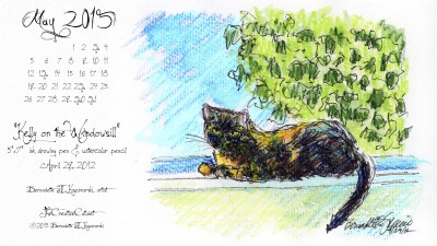"""""""Kelly on the Windowsill"""" desktop calendar 2560 x 1440 for HD and wide screens."""