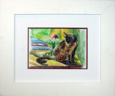 Kelly With Grapes and Apple matted and framed.