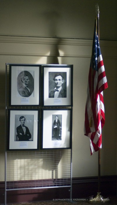 four photos of Lincoln with flag