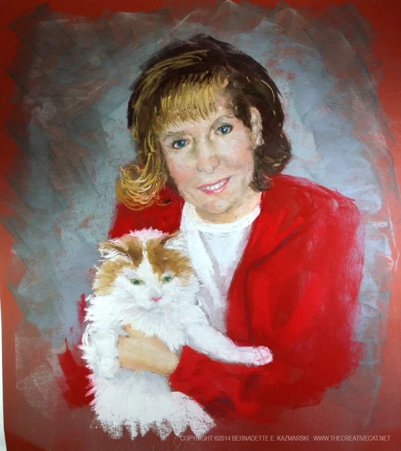 pastel portrait of woman and cat