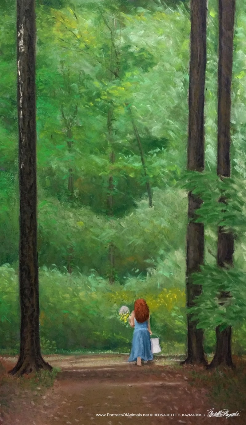 """Me in the Woods (draft 2)"", pastel, 16"" x 28"" © Bernadette E. Kazmarski"