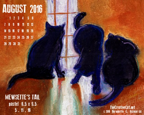 """Mewsette's Tail"" desktop calendar, 1280 x 1024 for square and laptop monitors."