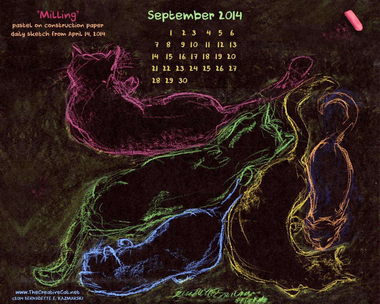 """Milling"" desktop calendar, 1280 x 1024 for square and laptop monitors"
