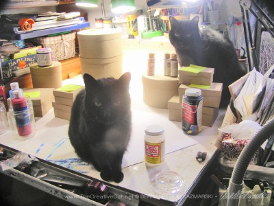 two black cats with craft materials