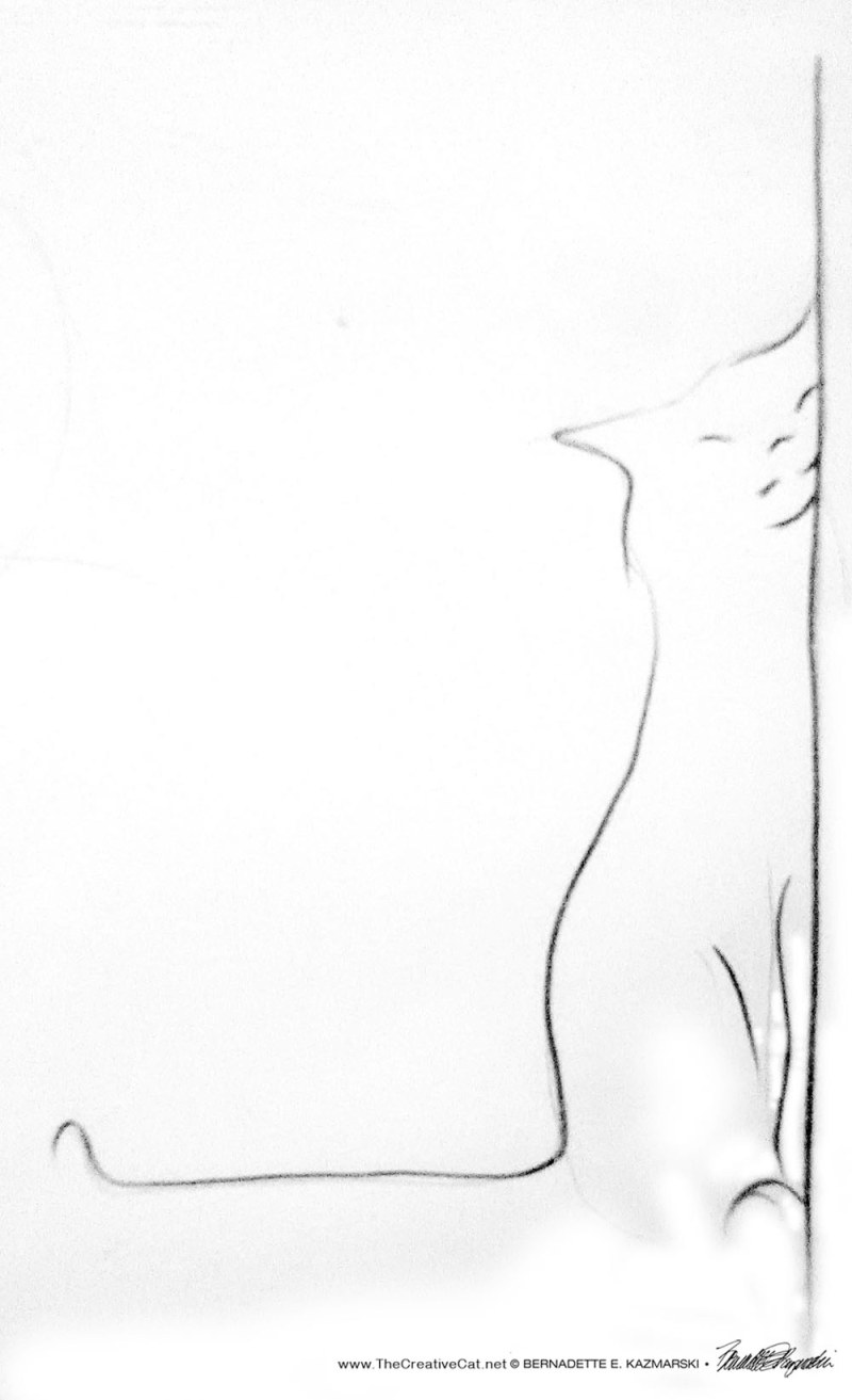 minimalist sketch of cat rubbing