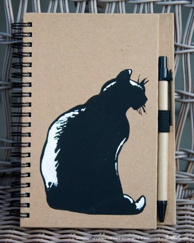 """""""Mimi en Silhouette"""" stenciled on notebook, 5 x 7"""