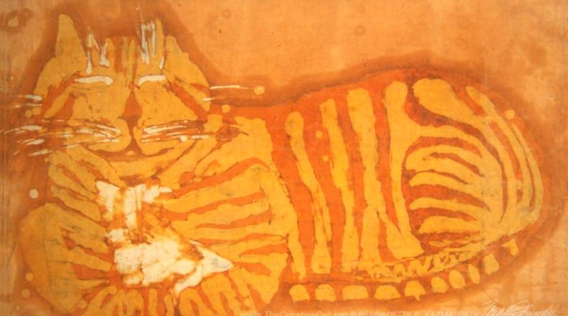 """Smiling Orange Kitty"", batik, 1972 © Bernadette E. Kazmarski"