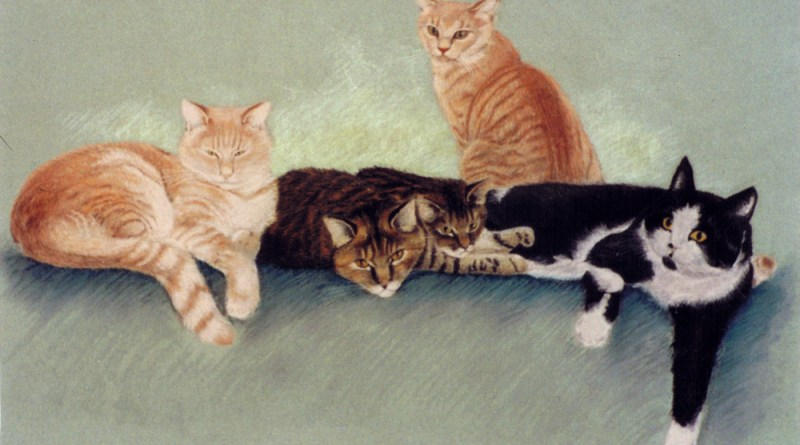 "Passion, Honor, Temperance, Joey and Spot, pastel on mint Mi Tientes paper, 16"" x 25"", 1992 © Bernadette E. Kazmarski"