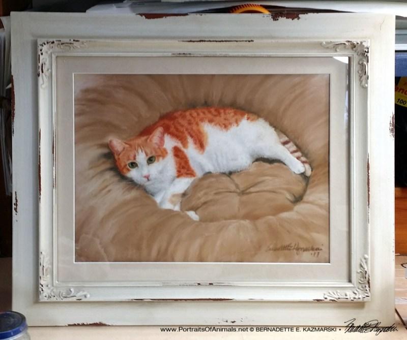 Peaches' portrait framed.