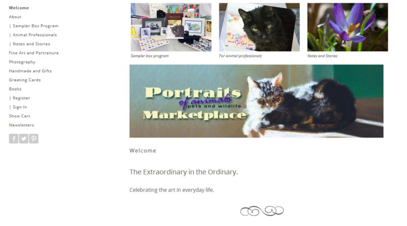 Portraits of Animals home page.