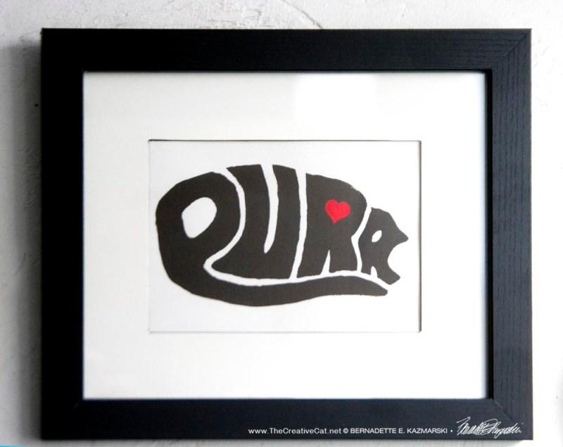 """""""Purr"""" framed print."""