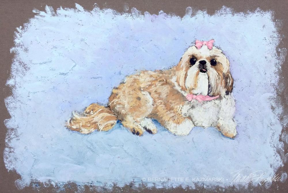 pastel painting of shi tzu