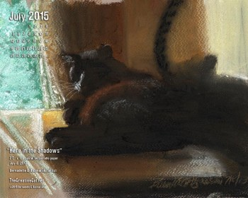 """""""Here in the Shadows"""" desktop calendar, 1280 x 1024 for square and laptop monitors."""